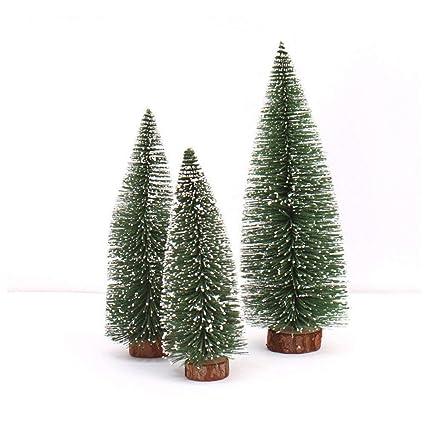 Qiusa Mini decoración de árbol de Navidad, Palo de Cedro Blanco Escritorio Pequeño árbol de