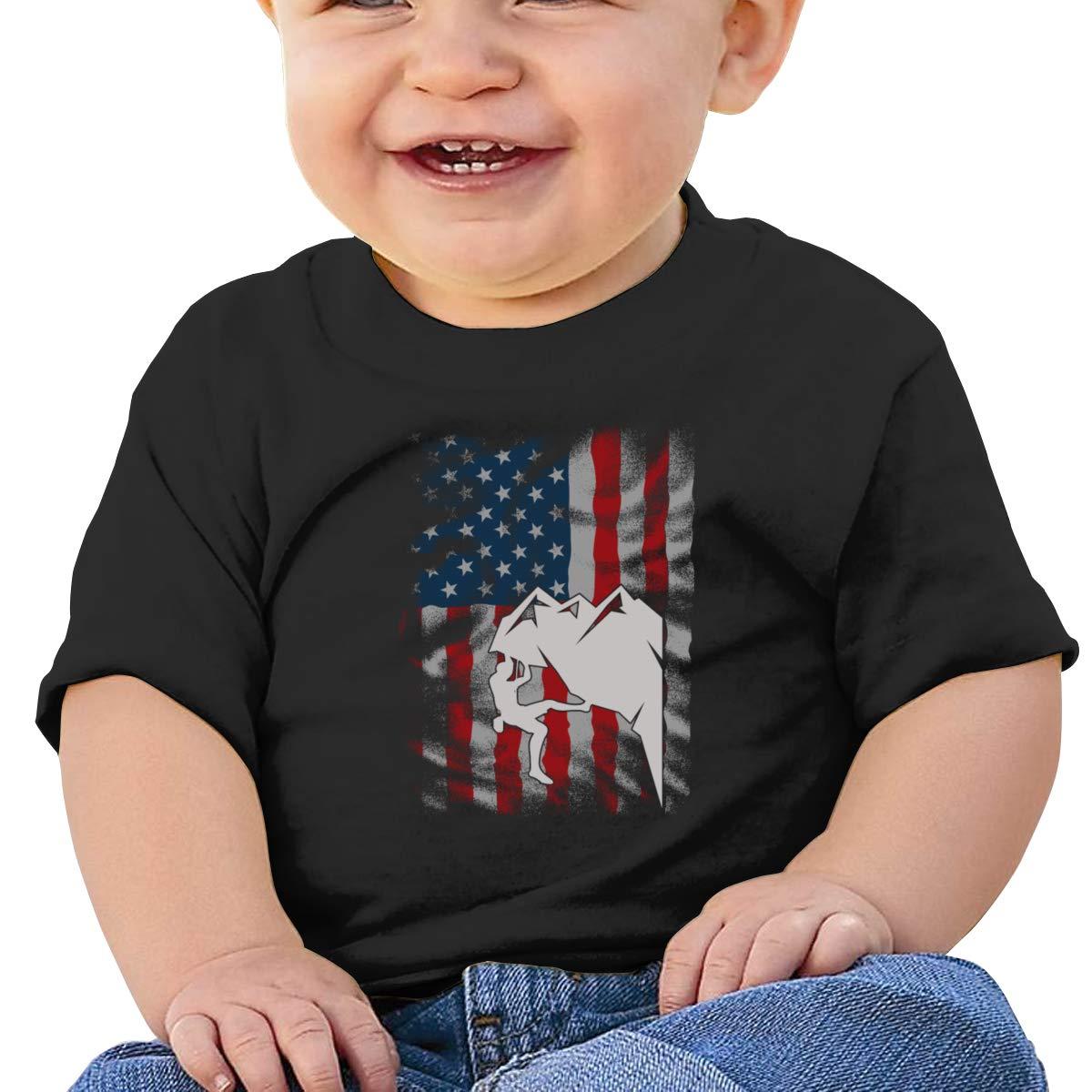USA Rock Climbing Short Sleeves T Shirt Baby Boys