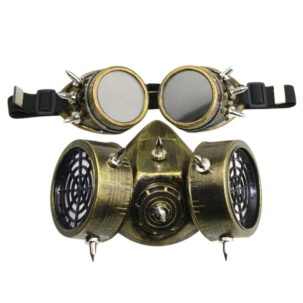 Halloween Masquerade Party Cosplay Fancy Gothic Steampunk Metal Rivet Skull Antigas Mask for Adult Women and Men by ShiningLove (Image #5)