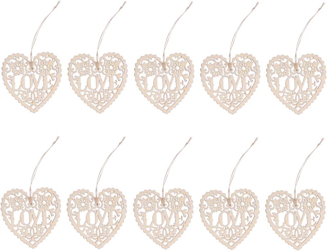 SUPVOX Cuori di Legno da Appendere fette di Legno Etichette Regalo Legno addobbi Decorazioni Matrimonio 10 Pezzi