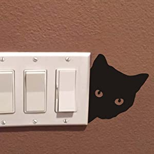FlWallD Cat Switch Plate Wall Decal Kids Room Living Room Bedroom Light Switch Vinyl Sticker Funny Wall Decor,Pack of 4