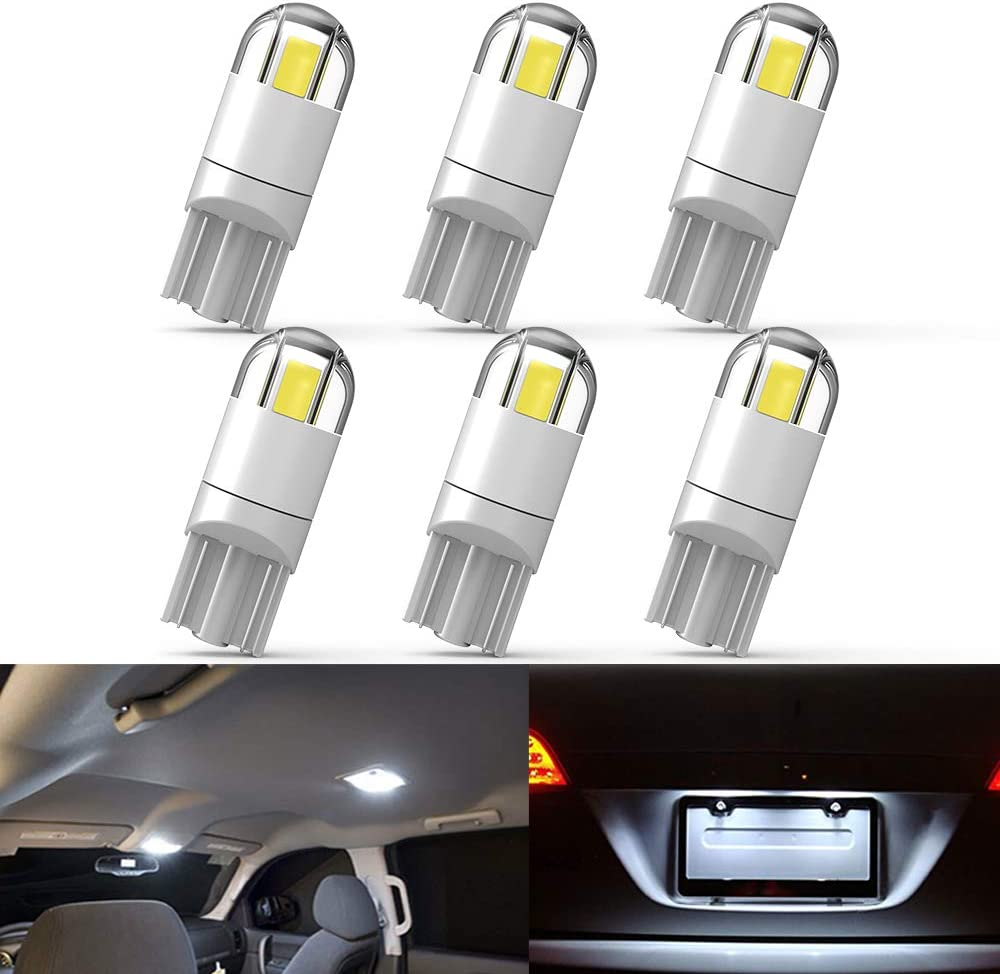 194 LED Bulb 3030 Chipset 2SMD T10 194 168 W5W LED Wedge Light Bulb 1.5W 12V License Plate Light Courtesy Step Light Trunk Lamp Clearance Lights (6pcs/pack)
