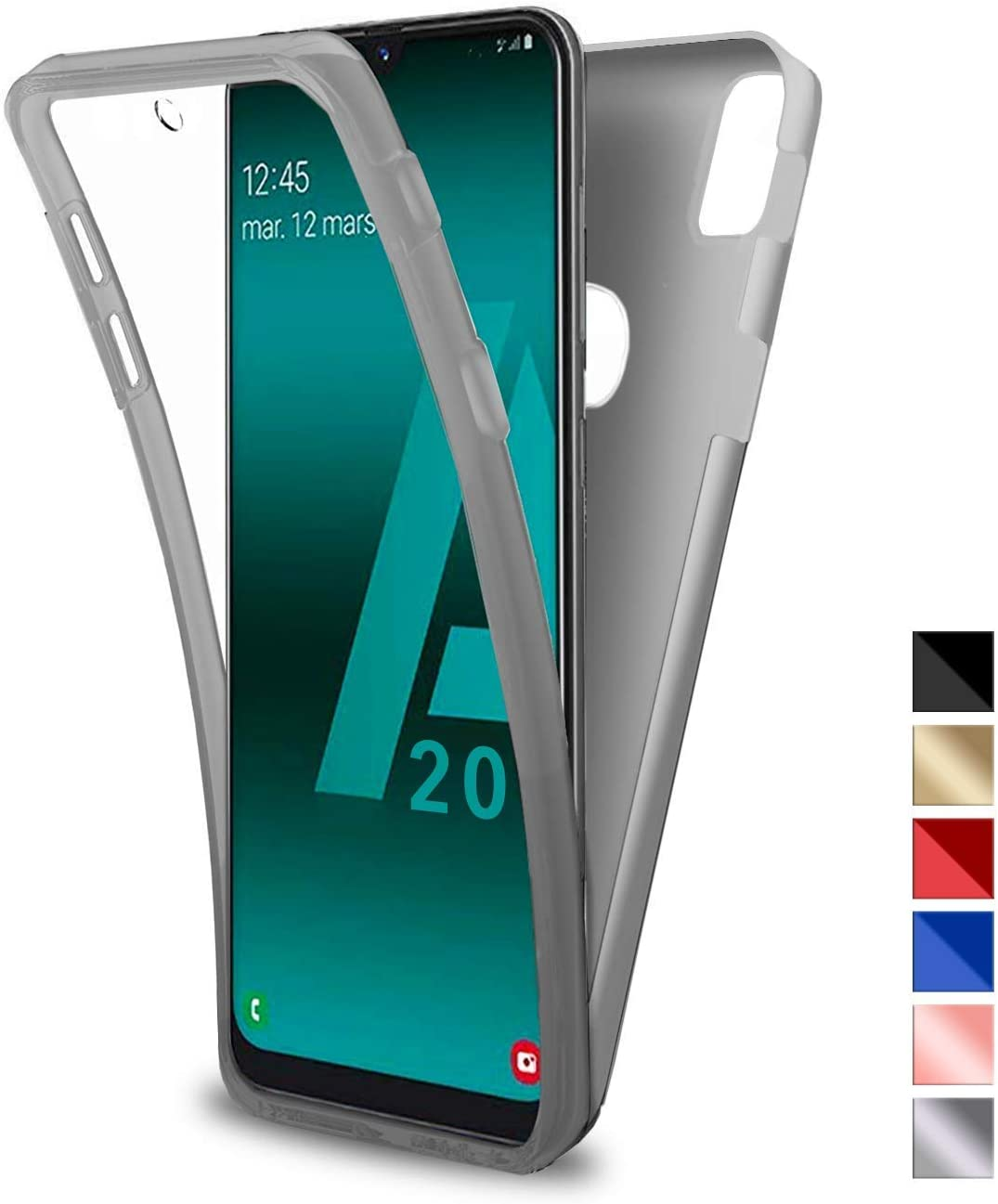 Kontarboor Samsung Galaxy A50 Kompatibel Hülle Silber 360 Grad Handyhülle Silikon Full Schutz Cover