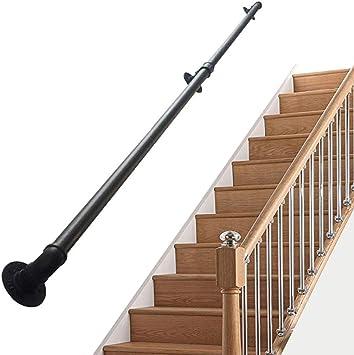 Barandilla escalera negra para soporte paredes | Kit barandas cubierta para interior y exterior | Conjuntos soporte riel barandilla barandilla escalera | Diseño tubería agua industrial hierro forja: Amazon.es: Deportes y aire libre