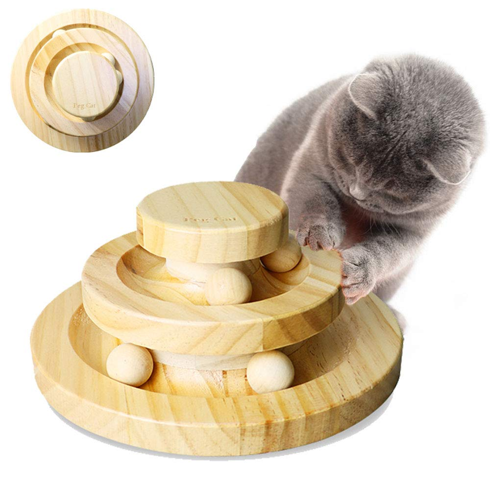 Solid Wood Double Layer Cat Turntable Toy Ball, Circle Track with Moving Balls Satisfies Cat Hunting, Chasing, and Exercising Needs, 585258Cm by MLQ