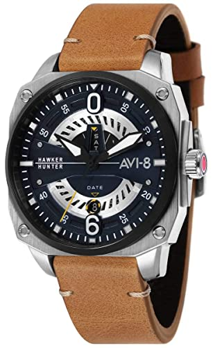 AVI-8 Hawker Hunter - Reloj para Hombre, Color marrón y Azul: Amazon.es: Relojes
