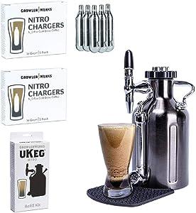 GrowlerWerks uKeg Nitro Cold Brew Coffee Maker, 50 oz, Black Chrome, Refill Kit, 10 Nitro Chargers
