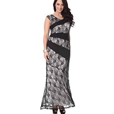 Judy Dre am Women\'s Sleeveless Contrast Lace Plus Size Evening Gown ...