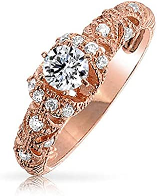 Ladies .925 Silver Rose Gold Finish Brown Eternity Infinity Lab Diamond Ring