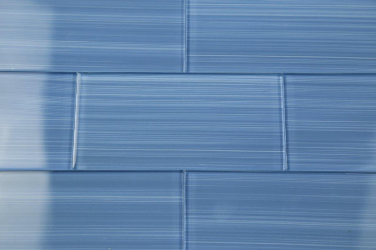 Haven Dark Blue Hand Painted Glass Tile Perfect For Kitchens And