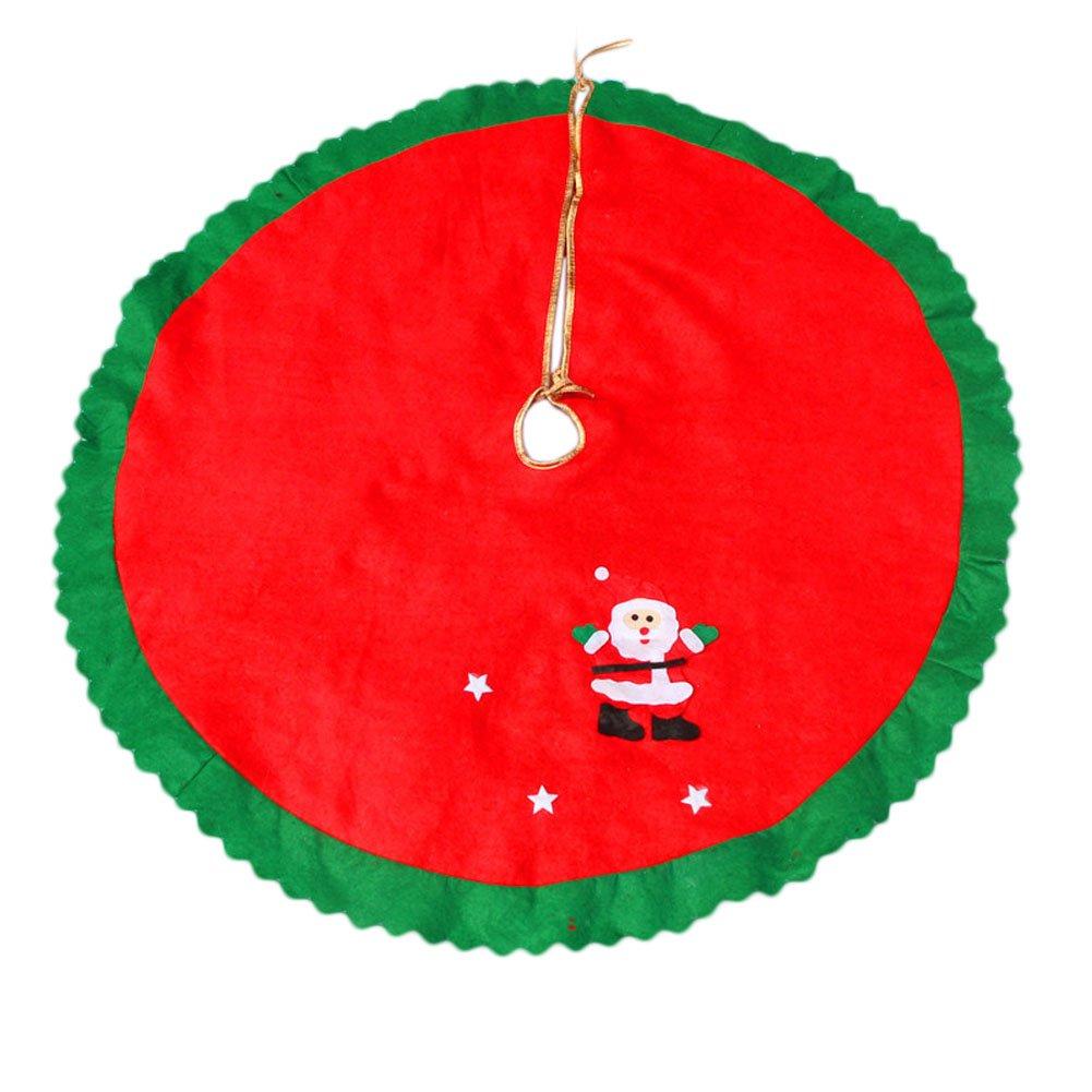 Gaosaili 90cm/35.4'' Decorative Christmas Embroidered Leaves Design Tree Skirt