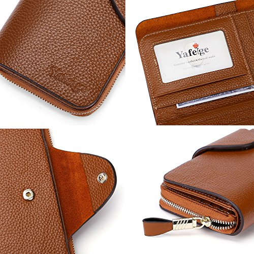 Yafeige Large Luxury Women's RFID Blocking Tri-fold Leather Wallet Zipper Ladies Clutch Purse(Brown1) by Yafeige (Image #6)