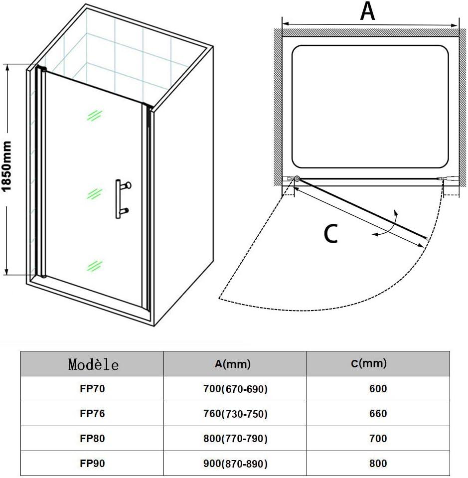 SIRHONA Porte de douche pivotante 70 x 185 cm paroi de douche extensible vitre de douche porte de douche battante