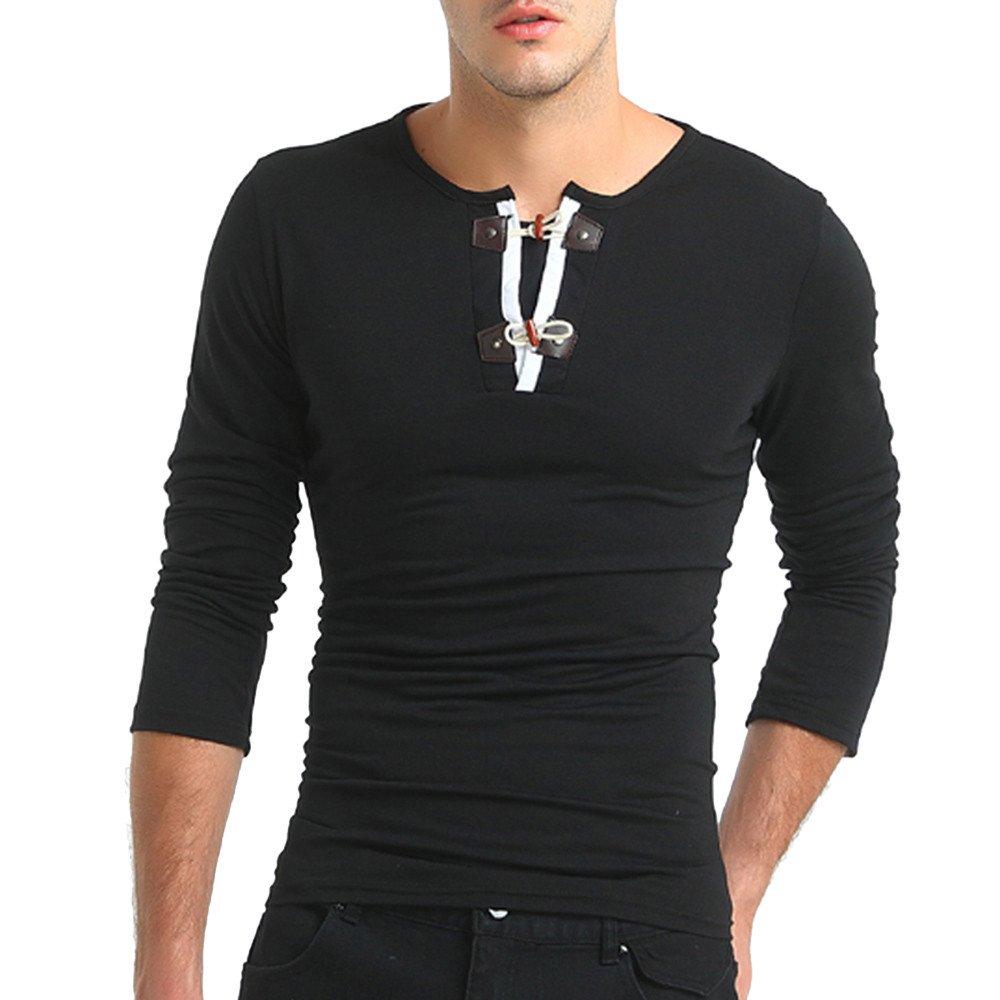 Men's Shirt ,Clearance Sale -Farjing Men's Autumn Pure Color Long Sleeved Pullover Button Sweatshirts Top Blouse(XL,Black)
