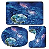 3 Piece Bath Mat Rug Set,Constellation,Bathroom Non-Slip Floor Mat,Exo-Solar-Planet-Painting-Style-Vibrant-Universe-Awesome-Space,Pedestal Rug + Lid Toilet Cover + Bath Mat,Turquoise-Blue-Light-Pink