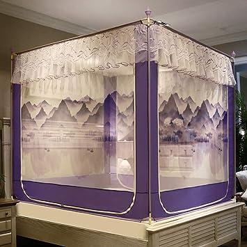 WENZH Cremallera Anti-caída de Tres Puertas Mosquitera 1.5 M Princess Wind Home 1.8 M Encriptación de la Cama de Soporte Grueso Mosquitera (Color : Landscape Purple, Size : 1.5m Bed): Amazon.es: Hogar