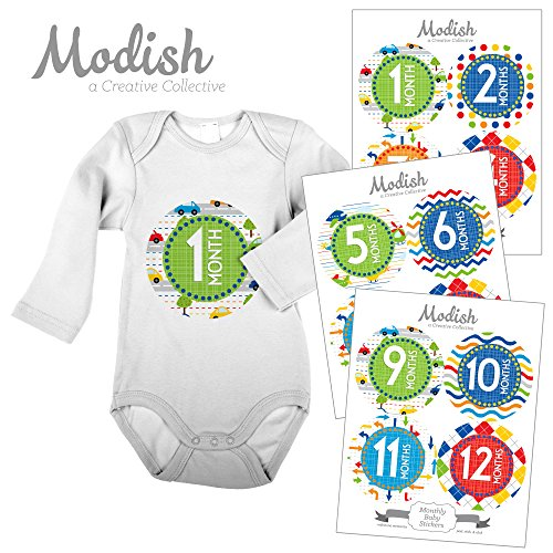 (12 Monthly Baby Stickers, Cars, Primary Colors, Boy, Baby Belly Stickers, Monthly Onesie Stickers, First Year Stickers Months 1-12, Red, Blue, Green, Yellow, Orange, Cars, Airplanes, Traffic Signals, Transportation, Baby Boy)