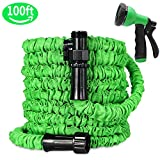 Ohala Garden Hose 100ft, All Expanding Water Hose Green with Double Latex Core, Expandable Hose with Shut Off Valve-Practial 8 Function Spray Nozzle,Kink-Free and Flexible for Watering