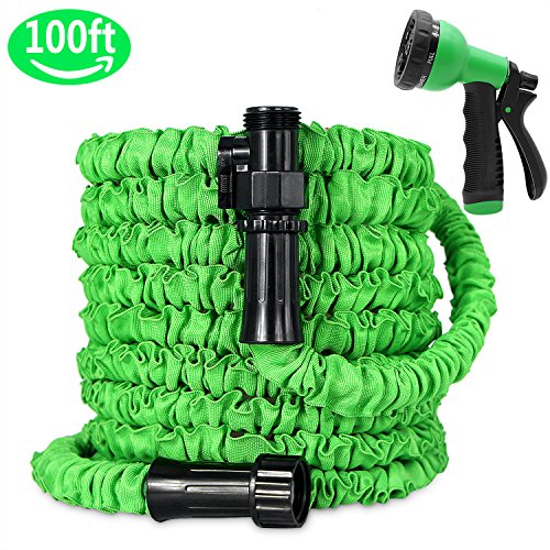 Ohala Garden Hose 100ft, All Expanding Water Hose Green with Double Latex Core, Expandable Hose with Shut Off Valve-Practial 8 Function Spray Nozzle,Kink-Free and Flexible for Watering by Ohala