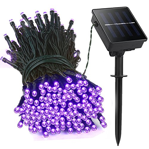 LED String Lights, Lellel 2nd Generation Solar Outdoor String Lights, 200 LED 72ft 8 Twinkle Mode, Waterproof Weatherproof for Yard Patio Garden Tree Party Wedding Christmas Decoration, Purple (Canopy With Lights For Wedding)