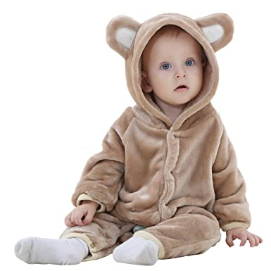89f51f5df6b8 Top and Top Newborn Infant Bear Outfit Flannel Romper Baby Onesies (70 0-