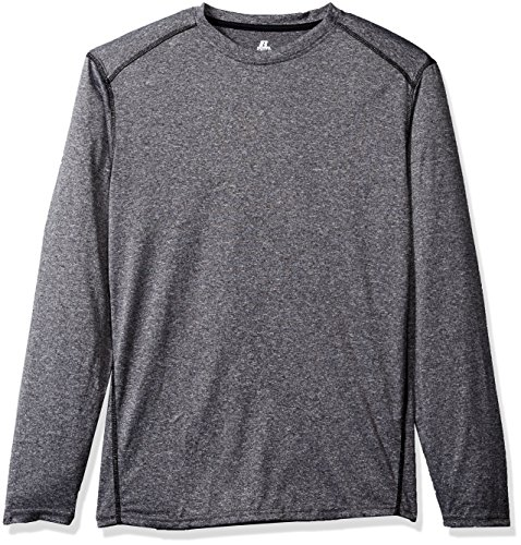 Russell Athletic Men's Long Sleeve Double-Dyed Peached Heathered Crew, Grey, Medium