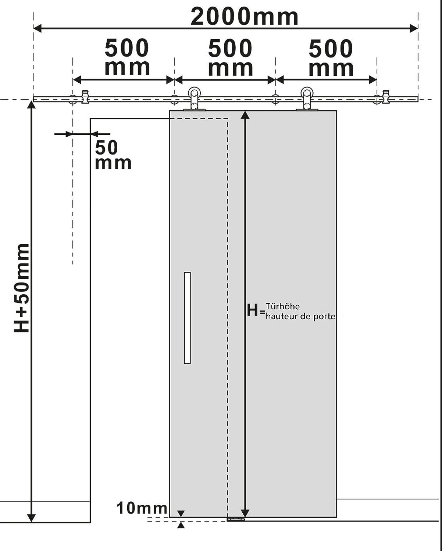 inova Beschlagset Edelstahl 200cm f/ür Schiebet/ür Laufschiene Schiebet/ürbeschlag Schiebet/ürsystem mit Stangengriff
