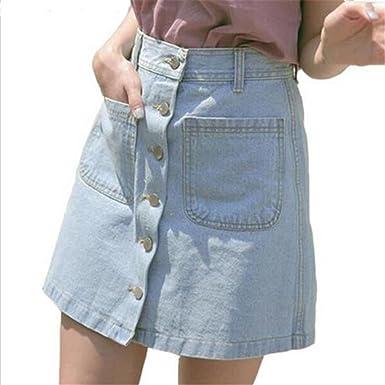 Cintura Alta Falda Mujeres Moda Color Puro Una Línea Denim Skirt ...