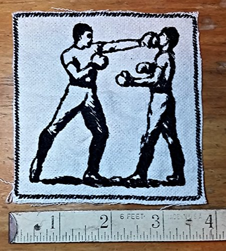 Embroidered Boxing Vintage Graphic Upcycled Iron On Canvas Jacket Patch