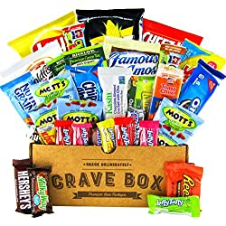The Classic CraveBox (30 Count) - Variety Assortment Bundle of Snacks, Candy, Chips, Chocolate, Cookies, Granola Bars, and More! Great Valentine's Day Gift Care Package!