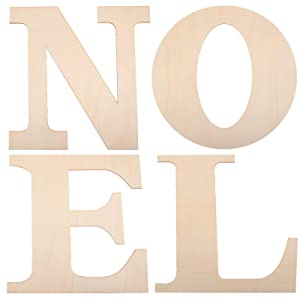 4 Pieces 12 Inch Large Wooden Noel Letters Unfinished Wood Cutout Letters for Christmas Wall Home Party DIY Crafts Decorations
