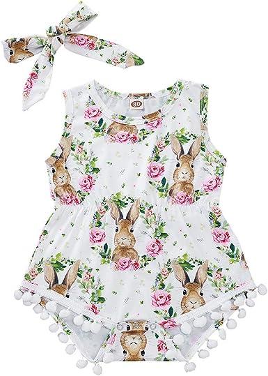 NEW Easter Bunny Rabbit Baby Girls Pink Ruffle Sleeveless Romper Jumpsuit