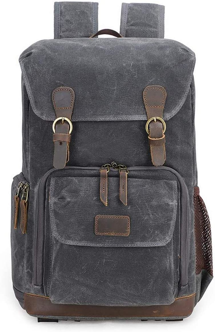 30 X 19 X 42 cm Dark Gray Sports Backpack Travel Bag Outdoor Camera Backpack for 15-inch Laptop Tripod Lens and Accessories Large Capacity Backpack Vintage Canvas SLR Camera Backpack