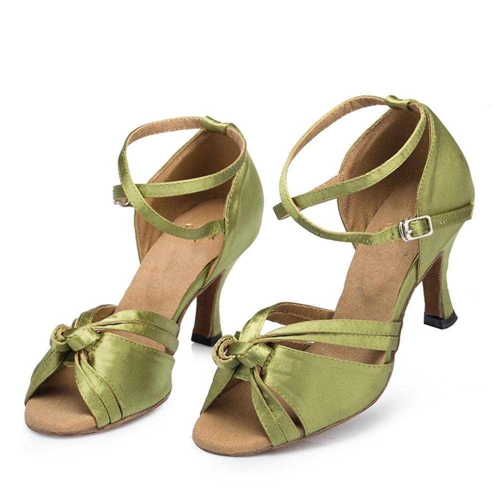 femmes sandales cuir en daim soft soles salsa latin samba tango ballroom talons hauts boucle cross strap dance shoes vert wexe.com