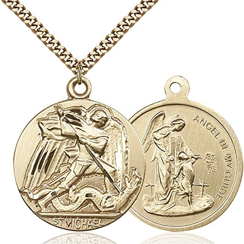 Gold Filled St. Michael the Archangel Pendant 1 3/8 x 1 1/8 inches with Heavy Curb Chain by Bonyak Jewelry Saint Medal Collection