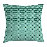 girl steering wheel cover chevron - Mint Throw Pillow Cushion Cover, Steering Wheels Anchors Chevron Zigzag Nautical Seaside Theme Aquatic, Decorative Square Accent Pillow Case, 18 X 18 Inches, Mint Green Navy Blue White