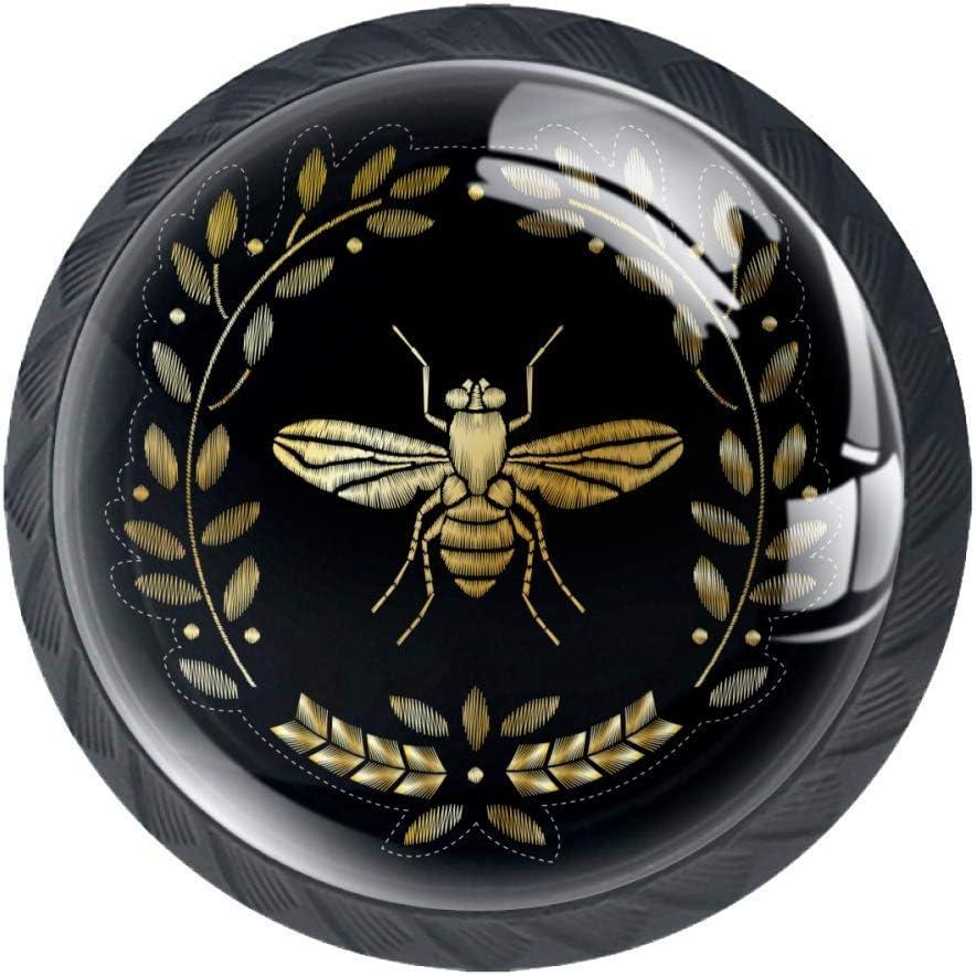 4 Pieces Set Cabinets Hardware Round Furniture Knobs Drawer Dresser Cupboard Wardrobe Pulls Handles for Home Kitchen,Golden Flying Bee Pattern