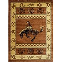 Western Area Rug Design 370 Lodge Brown (3 Feet 10 Inch X 5 Feet 1 Inch)