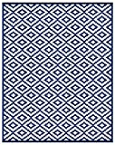 Lightweight Outdoor Reversible Plastic Nirvana Navy Blue and White Rug (8 X 10, Navy/White)