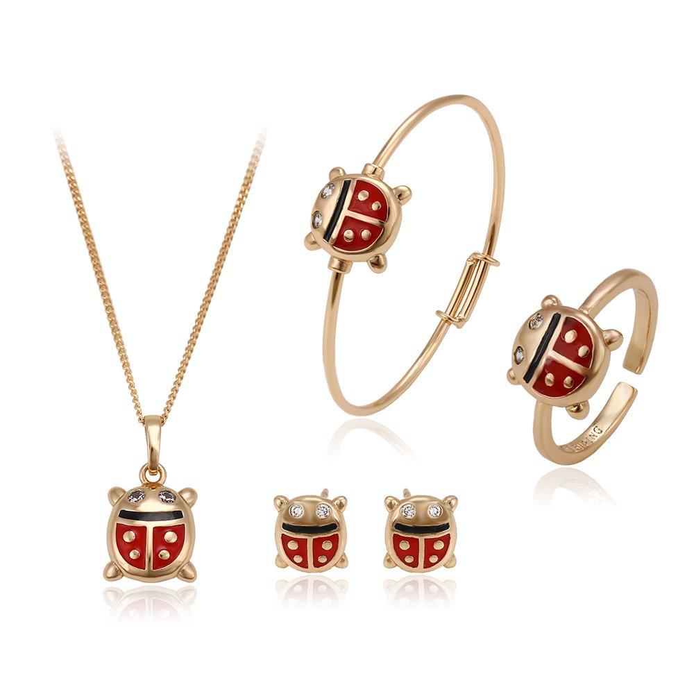 Xuping Ensemble de collier, bague, bracelet et boucles d'oreille à tige en forme de coccinelles scintillantes plaquées or 18carats pour enfant GUANGDONG XUPING JEWELLERY 60001