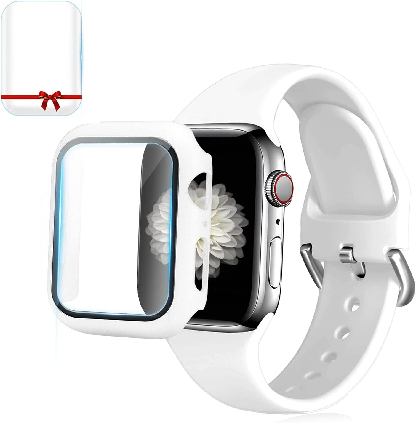Foranyo 3 in 1 Compatible with Apple Watch Band 44mm 42mm 40mm 38mm, Soft Silicone Sport Replacement Strap Watch Band for Women & Men, Case with Tempered Glass Screen Protector Compatible with iWatch for Series SE 6 5 4 3 2 1 (White, 44mm)
