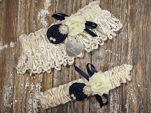 Wedding Garter Set in Ivory Lace with Navy Blue Roses and Personalized Engraving