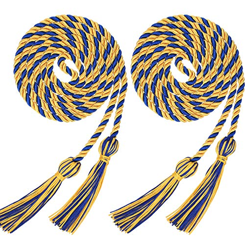 2 Pieces Graduation Cords Polyester Yarn Honor Cord with Tassel for Graduation Students (Gold with Blue)