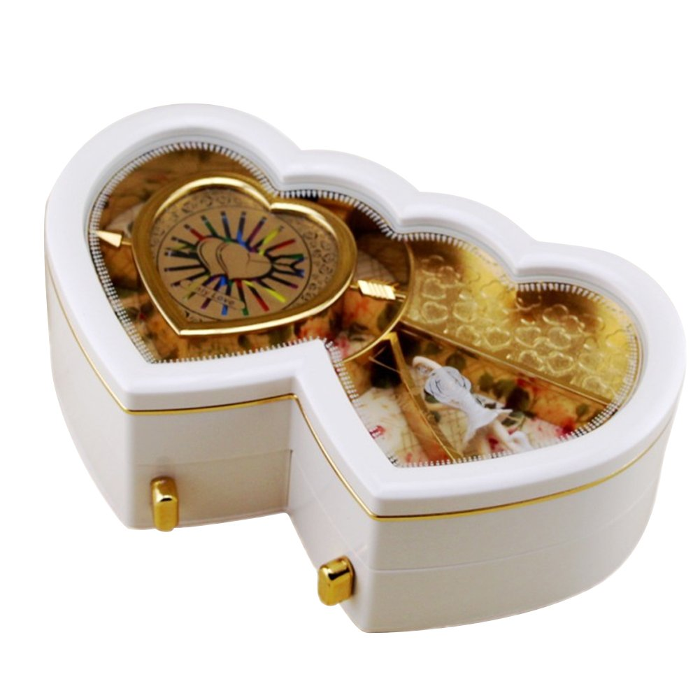 Per Double Hearts Music Box Jewelry Box With Ballerina Best Christmas Birthday Gift For Kids Friends(white)