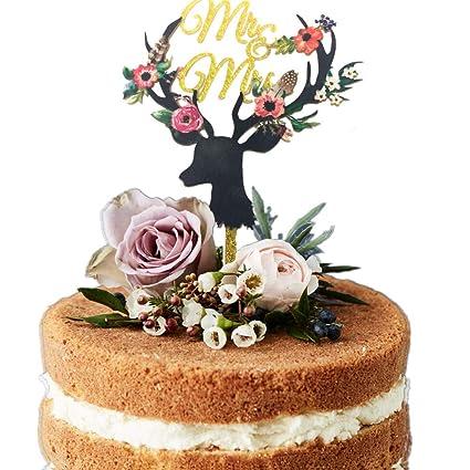 Decoración para tartas de boda de Deer MR MRS, decoración ...