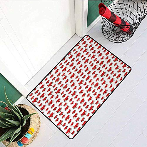 GloriaJohnson Fox Inlet Outdoor Door mat Cartoon Hipster Red Lady Fox with Glasses and Buckle Inside a Circle of Dots Catch dust Snow and mud W15.7 x L23.6 Inch Mint Green Beige Red
