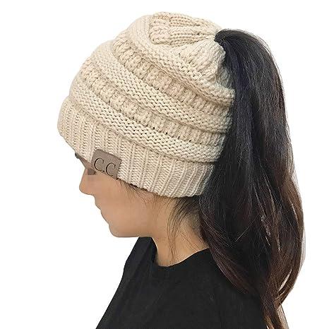 Messy Bun Hat Beanie (Beige) CC Quality Knit  Amazon.ca  Luggage   Bags 48798bda762