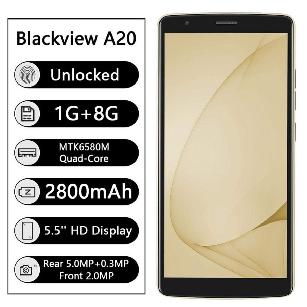 QUICKLYLY Smartphone/Telefono MovilBlackview A20 Android GO 3G ...