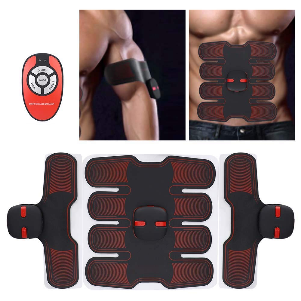 TMISHION Belly Training Belt, Men & Women EMS Bionic Microelectronic Stomach Fat Burning Massage Figure Shaping Fitness Body Massager Home Training Gear Gym Workout Tool(Red)