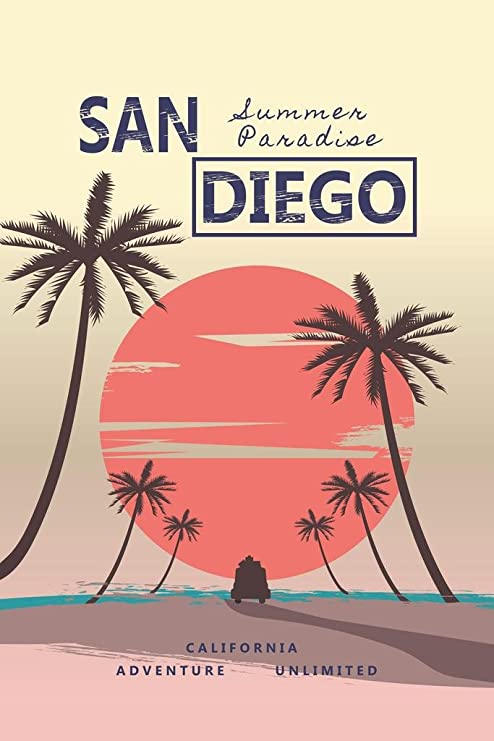 Retro Style California Sun Sand Palm Tree Travel Mural inch Poster 36x54 inch